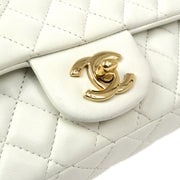 CHANEL Valentine Double Chain Shoulder Bag White