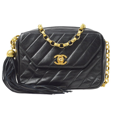 CHANEL Fringe Single Chain Shoulder Bag Black