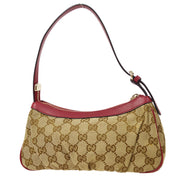 GUCCI GG Pattern Hand Bag Beige Red