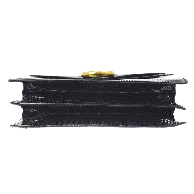 CELINE Double Flap Hand Bag Black Lizard