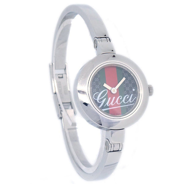 GUCCI 105 Shelly Line Watch Wristwatch Silver