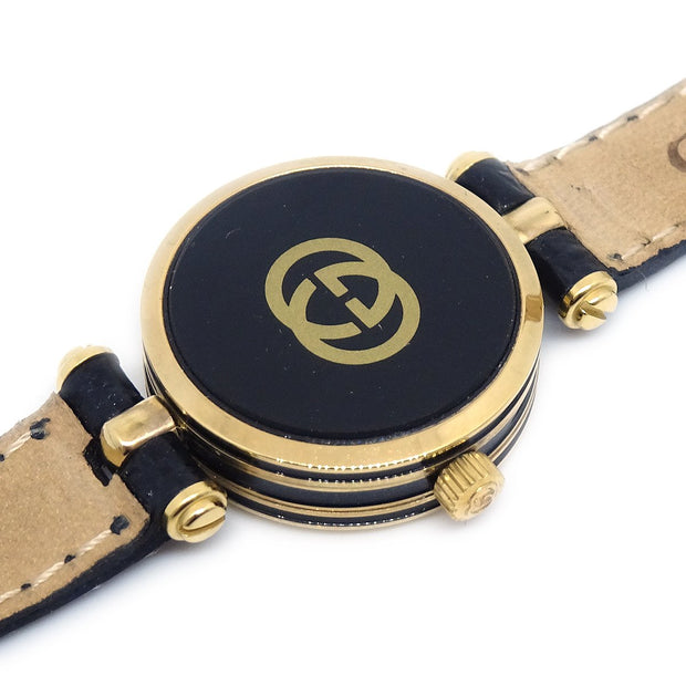 GUCCI Shelly Line Quartz Watch Wristwatch Black Gold