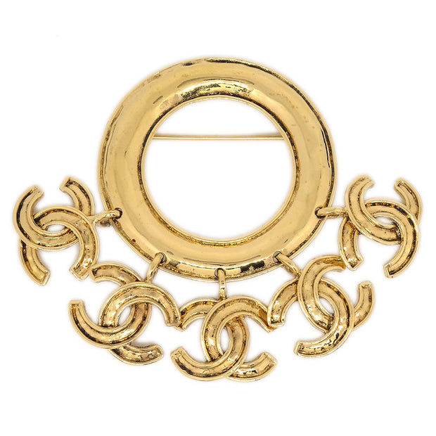 CHANEL Shaking Charm Brooch Pin Corsage Gold 94P