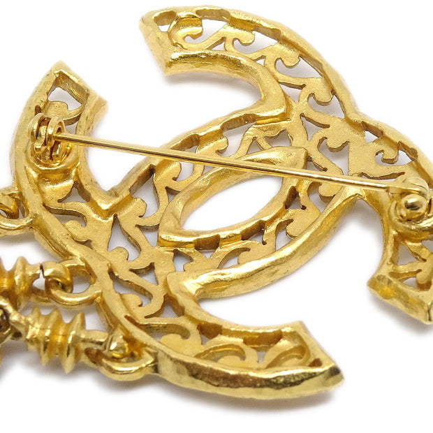 CHANEL Fringe Brooch Pin Corsage Gold 95A