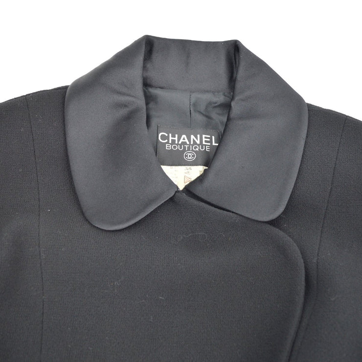CHANEL 23 #36 Single Breasted Setup Suit Jacket Skirt Black
