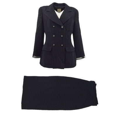 CHANEL 95A #40 Double Breasted Setup Suit Jacket Skirt Black