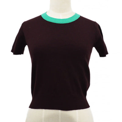 CHANEL 95A #38 Short Sleeve Knit Tops Brown