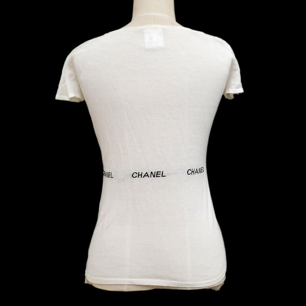 CHANEL 04P #38 Round Neck Short Sleeve Knit Tops White