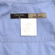 CHANEL 99P #42 Stripe Short Sleeve Tops Shirt Light Blue