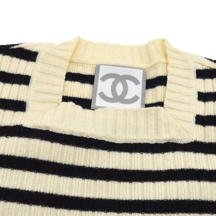 CHANEL 06A #38 Sport Line Striped Long Sleeve Knit Tops Ivory Black