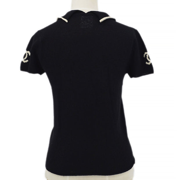 CHANEL 01C #38 Short Sleeve Knit Tops Black