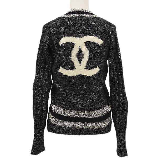 CHANEL 96A #42 V-Neck Long Sleeve Knit Tops Black