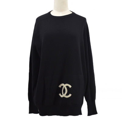 CHANEL 94A #42 Turtleneck Long Sleeves Knit Tops Black