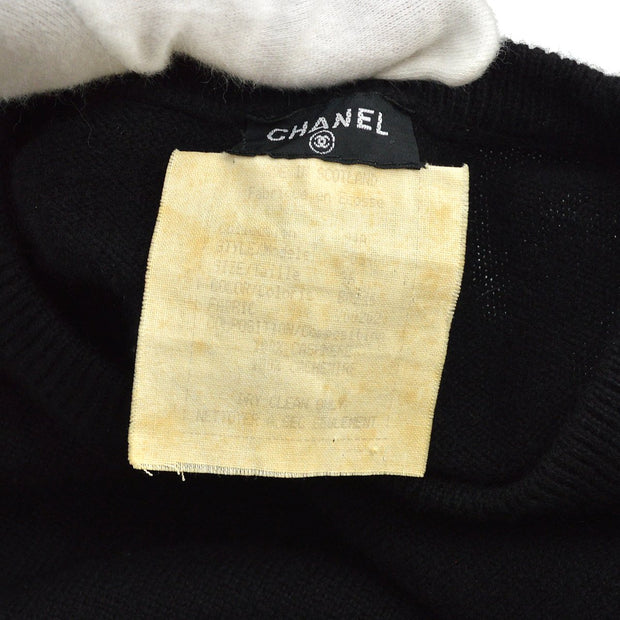CHANEL 04A #42 Turtleneck Long Sleeves Knit Tops Black