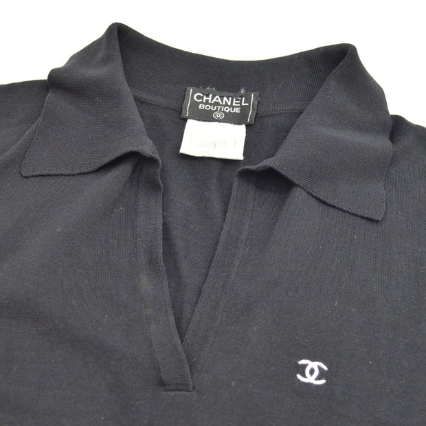 CHANEL 98P #38 Short Sleeve Tops Polo Shirt Sweater Black