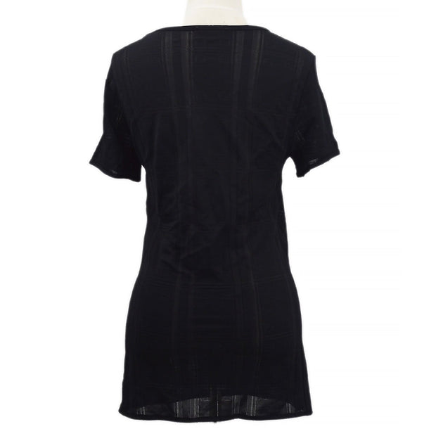 FENDI Logos V-Neck Short Sleeve Mesh Tops T-Shirt Black #42