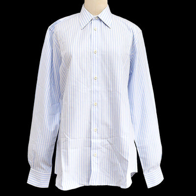 HERMES Logos Front Opening Long Sleeve Shirts Light Blue 15 #38