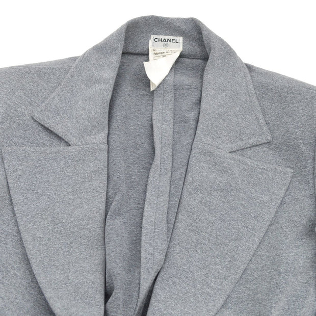 CHANEL 98P #38 Button Single Breasted Long Sleeve Coat Jacket Gray