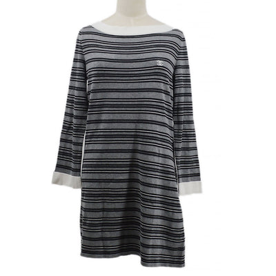 CHANEL Boat Neck Stripeds Short Sleeve One Piece Dress Gray