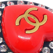 CHANEL Heart Rhinestone Earrings Clip-On Red