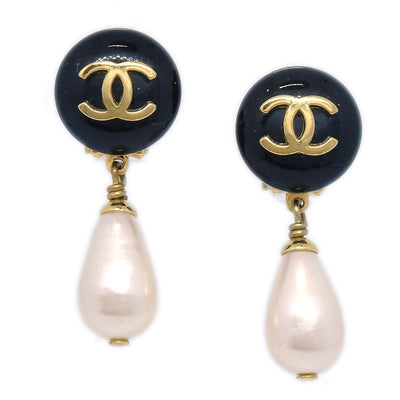 CHANEL Imitation Pearl Shaking Earrings Clip-On Black 95A