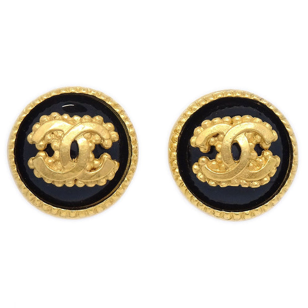 CHANEL Button Earrings Gold Black Clip-On 96A