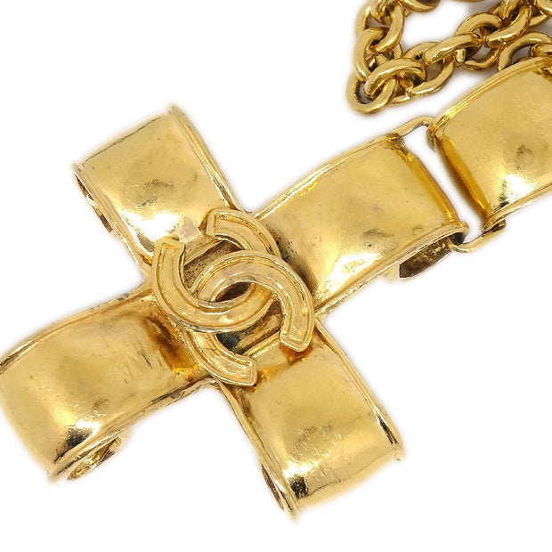 CHANEL Cross Charm Gold Chain Necklace 94P