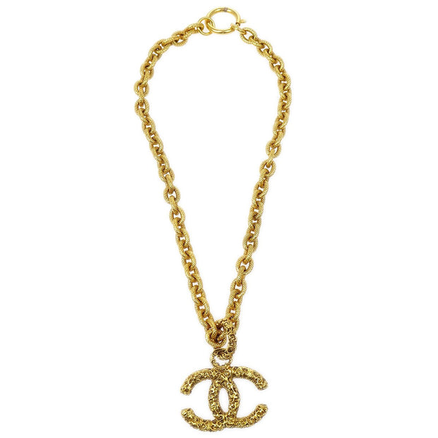 CHANEL Charm Gold Chain Pendant Necklace 95A