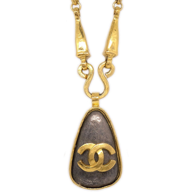 CHANEL Teardrop Charm Gold Chain Necklace 97A