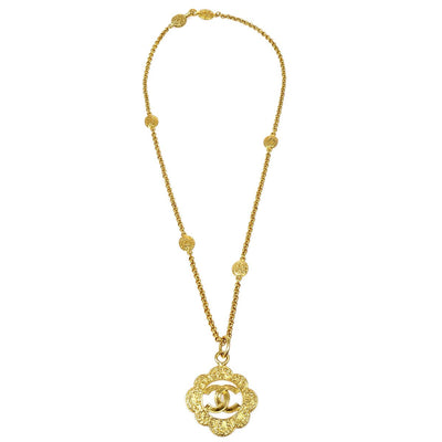 CHANEL Flower Charm Gold Chain Pendant Necklace 95A