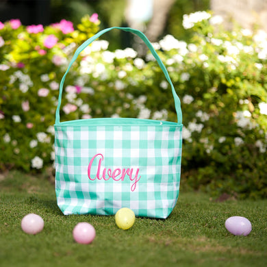 Mint Check Kids Easter Basket-Personalization Available