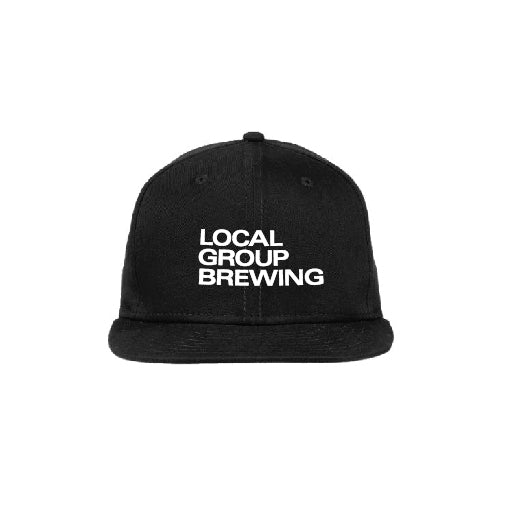 Black Local Group Hat White Embroidery Front and Side