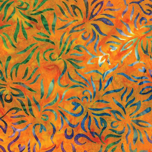 Bali Tropical Escape - Outline Floral Orange Multi