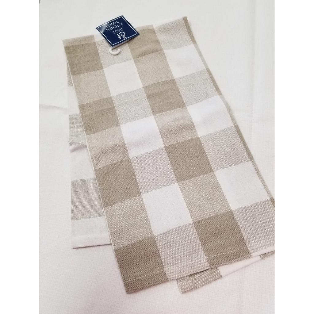 Taupe/White Buffalo Check Tea Towel