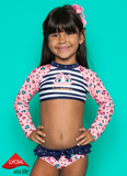 Conjunto Crop Leoparda Navy