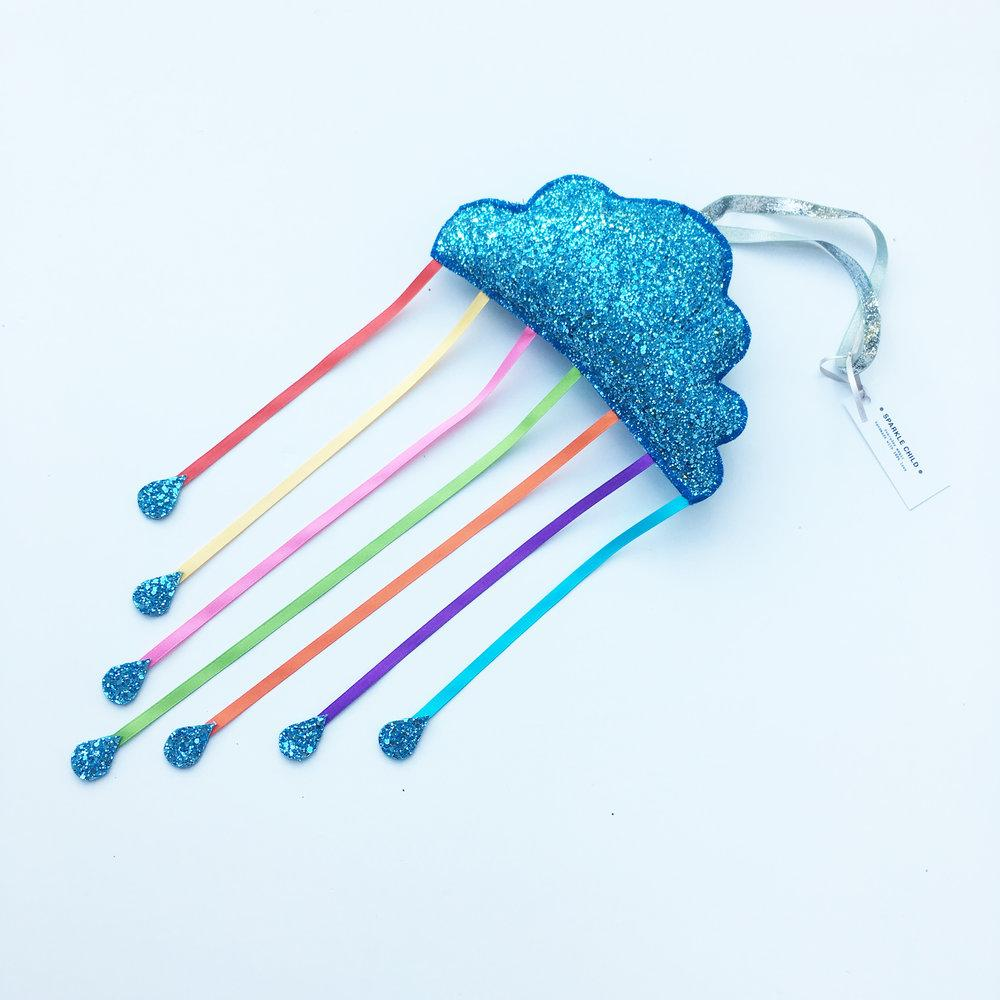 Blue Cloud Mobile With Rainbow Bright Ribbons
