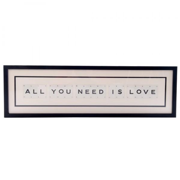 Vintage Playing Cards | Large ALL YOU NEED IS LOVE Vintage Playing Card Framed Statement