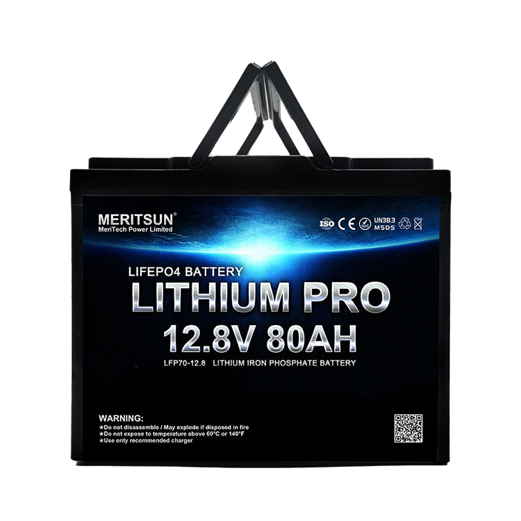 12V 80Ah MERITSUN Lithium LiFePo4 Batterie mit Display