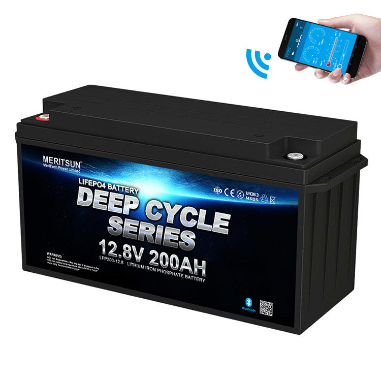 12V 200 Ah MERITSUN Lithium LiFePo4 Batterie mit Bluetooth oder Display