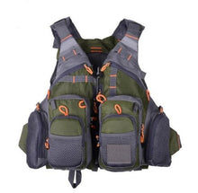 Load image into Gallery viewer, Fly Fishing Vest Backpack MultiPocket Safty Floatation 11 Pocket Outdoor Sports Outerwear Vest Army Green Fish Accessory