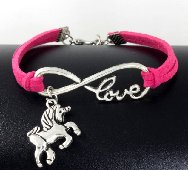 Infinity handmade bracelet Vintage Animals Antique Silver Horse Unicorn Charms Infinity Love Leather Bracelet