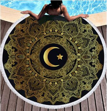Bedding 3D printing moon stamping Round Bohemian Beach towel home textile  Beach Towel Tapestry Blanket