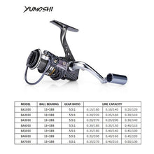Load image into Gallery viewer, YUMOSHI BA1000-7000 Fishing Spinning Reel Snake Mud 14BB 5.5:1 Lightweight Seamless Metal Line Cup Left/Right Hand