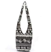 Load image into Gallery viewer, Hippie Elephant Sling Crossbody Bag Shoulder Bag Purse Thai Top Zip Handmade