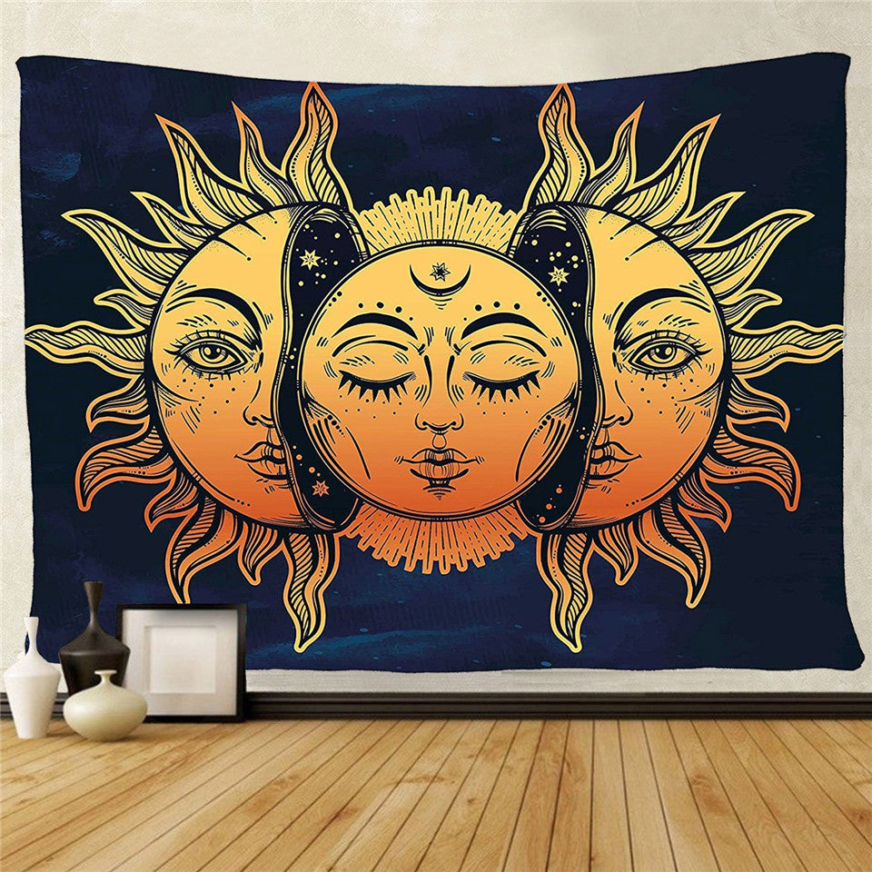Cilected Sun And Moon Psychedelic Tapestry Wall Hanging Wall Art Hippie Tapestry Cover Home Decorations For Bedroom Dorm