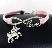 Load image into Gallery viewer, Infinity handmade bracelet Vintage Animals Antique Silver Horse Unicorn Charms Infinity Love Leather Bracelet
