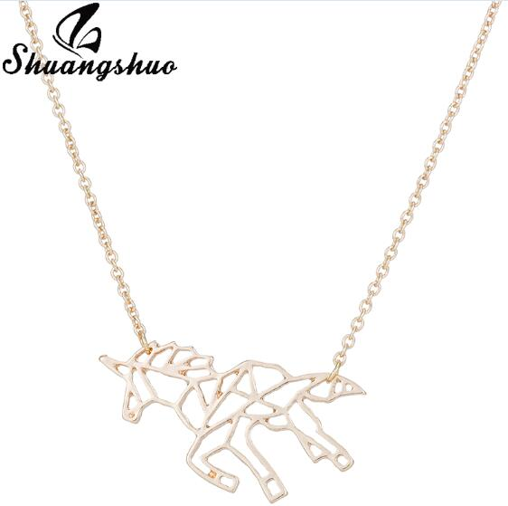 Ethnic Origami Unicorn Necklace Choker Horse Necklace Women Necklaces & Pendants Animal Necklace Silver Jewelry colar