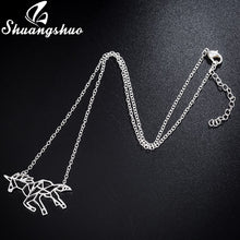 Load image into Gallery viewer, Ethnic Origami Unicorn Necklace Choker Horse Necklace Women Necklaces & Pendants Animal Necklace Silver Jewelry colar