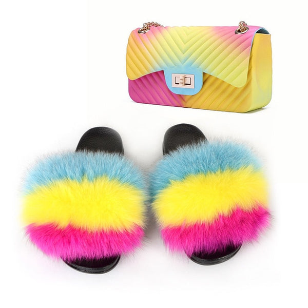Fur Slide Purse Set