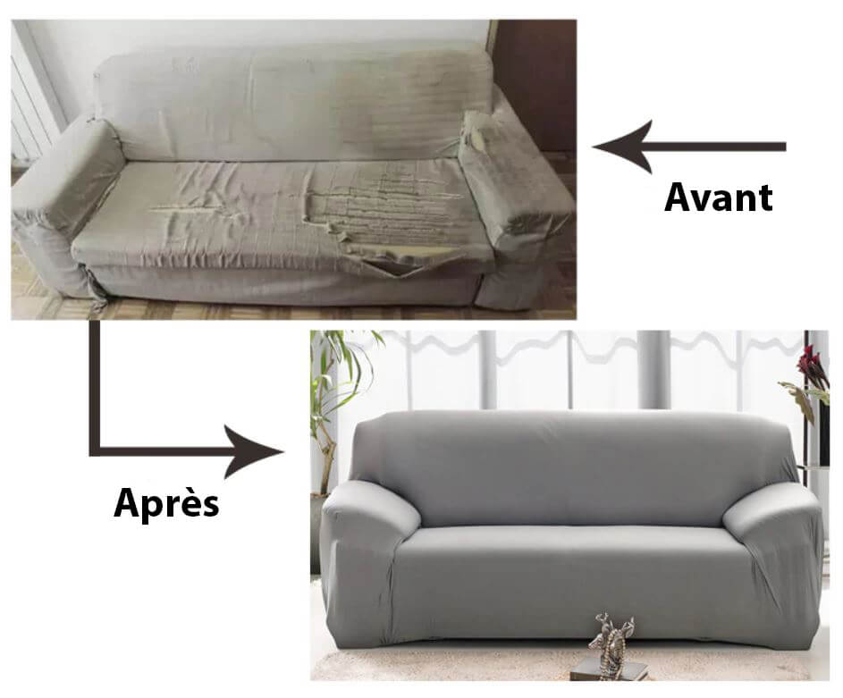 Illustration Avant - Apres Housse de canape d'angle extensible